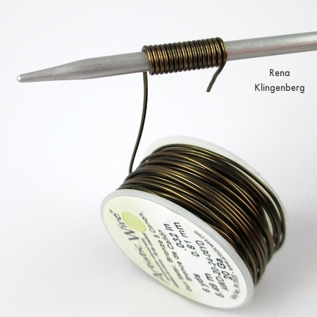 Making wire wraps for Wire Focal Bead - tutorial by Rena Klingenberg