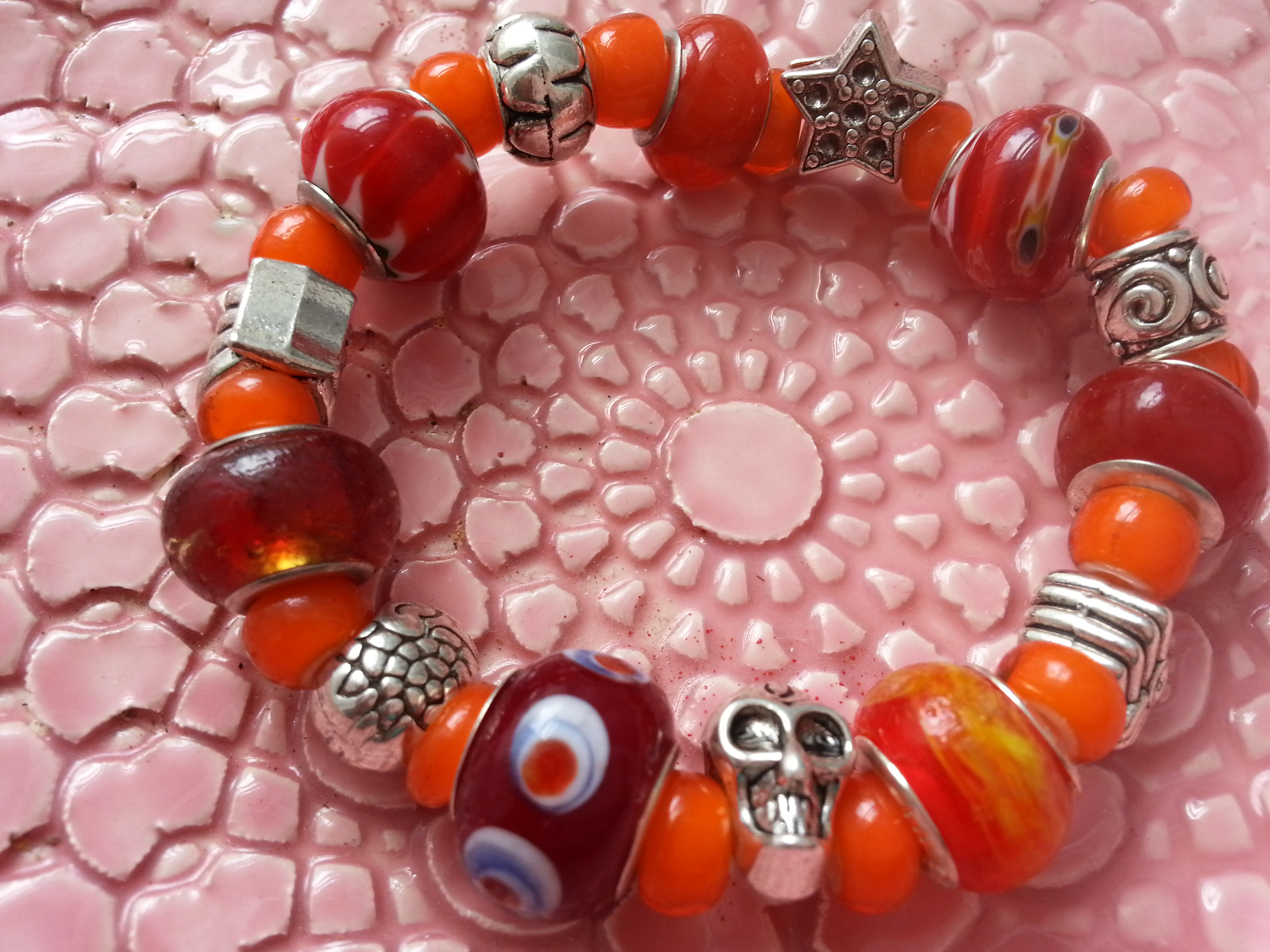 Murano Glass & Charms Stretchy Bracelets