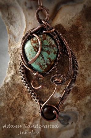 Turquoise Pendant Wire-Wrapped with Copper Patina Finish