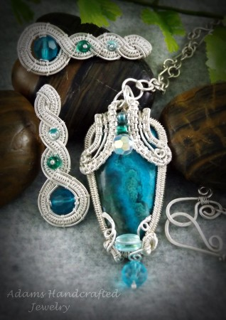 Chrysocolla Malachite Pendant Wire-wrapped in Fine Silver with Matching Earrings