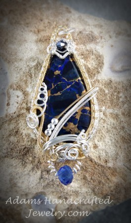 Blue Azurite Pendant w/ Czech Crystal & Czech Glass Crystals Wire-wrapped in Fine Silver & 14/20 Gold Filled