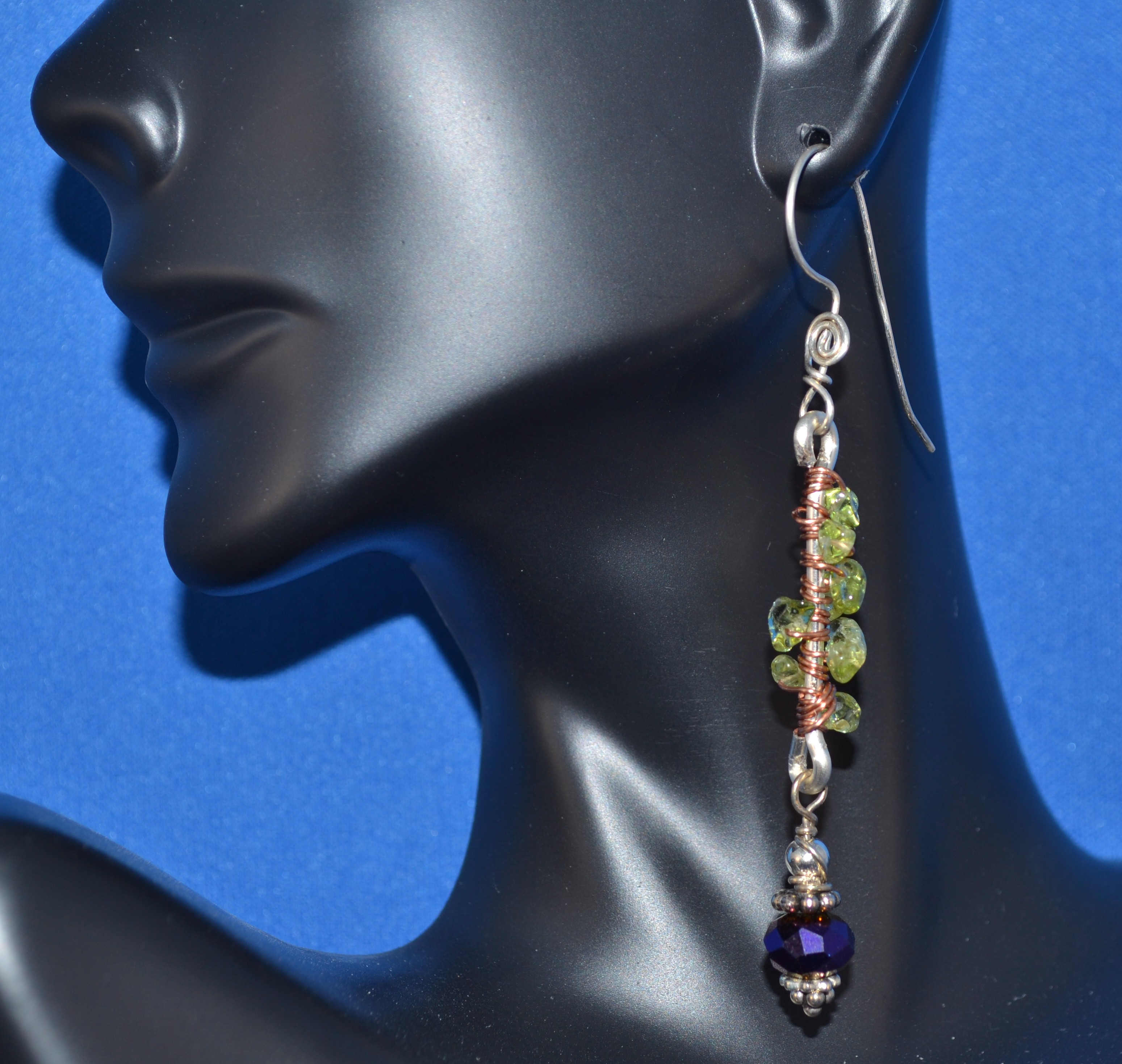Dangling Peridot & Copper Earrings