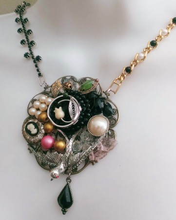 Collage Necklace With Vintage Jewelry Elements