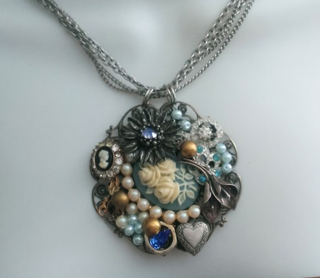 Create A Collage Necklace With Vintage Jewelry Elements
