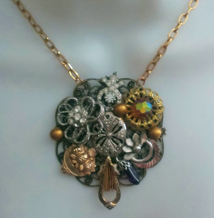 Create A Collage Necklace From Broken Jewelry