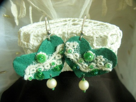 Green Leather Heart Earrings