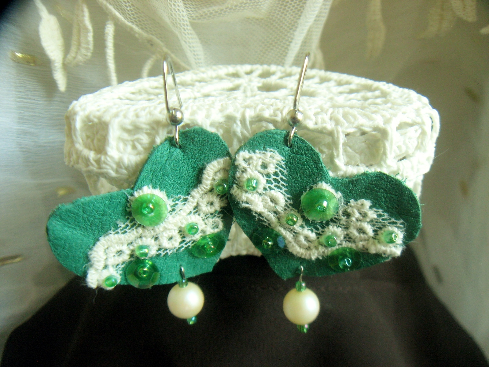 Green Heart Earrings – Valentines to St. Patrick's Day and Beyond