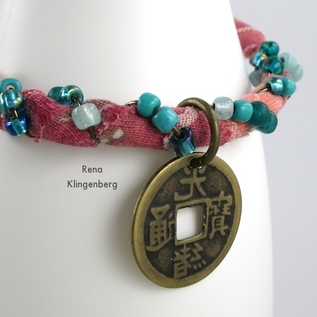 Attaching charm to Gypsy Style Adjustable Wire Bracelet - tutorial by Rena Klingenberg