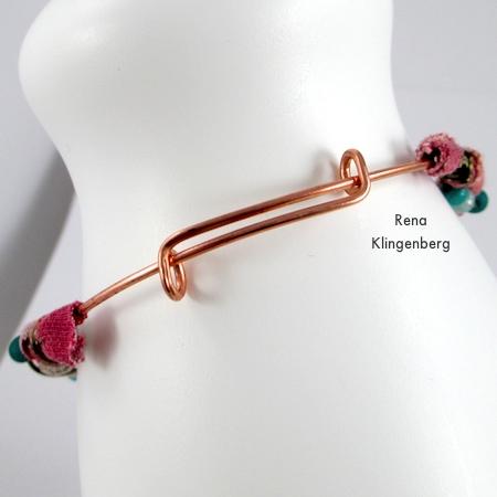 Sliding adjustable clasp on Gypsy Style Adjustable Wire Bracelet - tutorial by Rena Klingenberg