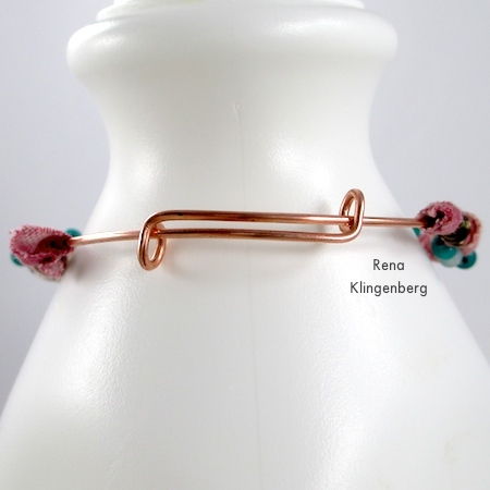 The adjustable clasp on Gypsy Style Adjustable Wire Bracelet - tutorial by Rena Klingenberg