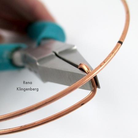Bending hook ends for Gypsy Style Adjustable Wire Bracelet - tutorial by Rena Klingenberg