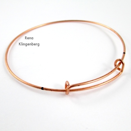 Finished adjustable sliding clasp for Gypsy Style Adjustable Wire Bracelet - tutorial by Rena Klingenberg