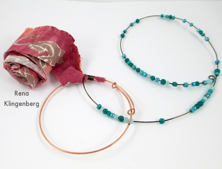 Wrapping the fabric, wire, and beads onto Gypsy Style Adjustable Wire Bracelet - tutorial by Rena Klingenberg