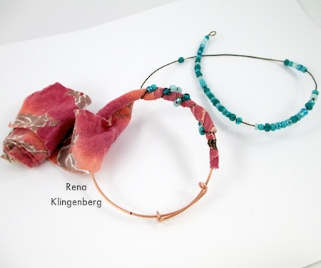 Wrapping fabric, beads, and wire around Gypsy Style Adjustable Wire Bracelet - tutorial by Rena Klingenberg