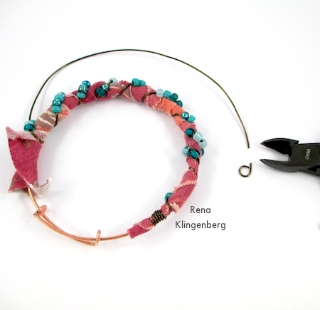 Finishing off the fabric and wire wrapping - Gypsy Style Adjustable Wire Bracelet - tutorial by Rena Klingenberg