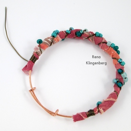 Finishing off the wire wrapping on Gypsy Style Adjustable Wire Bracelet - tutorial by Rena Klingenberg