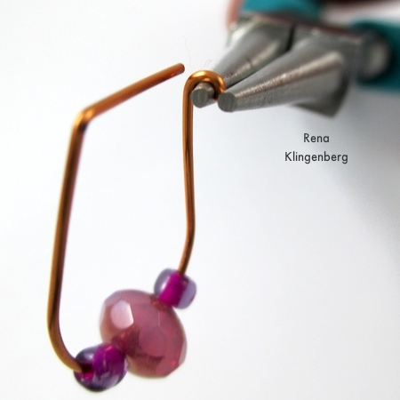 Making a hook latch for Hoop and Bead Earrings - tutorial by Rena Klingenberg