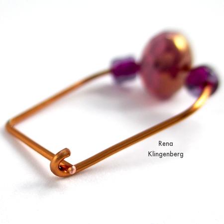 Hook latch for Hoop and Bead Earrings - tutorial by Rena Klingenberg
