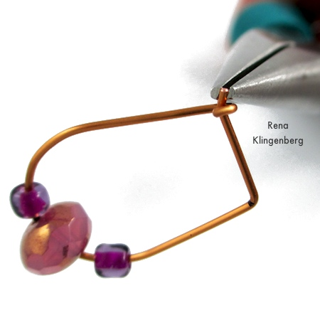 Finishing up - Hoop and Bead Earrings - tutorial by Rena Klingenberg