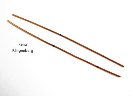 Marked wire for Hoop and Bead Earrings - tutorial by Rena Klingenberg