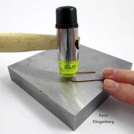Hammer-hardening wire for Hoop and Bead Earrings - tutorial by Rena Klingenberg