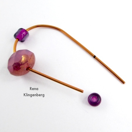 Stringing beads onto wire for Hoop and Bead Earrings - tutorial by Rena Klingenberg