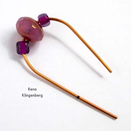 Adding the beads for Hoop and Bead Earrings - tutorial by Rena Klingenberg
