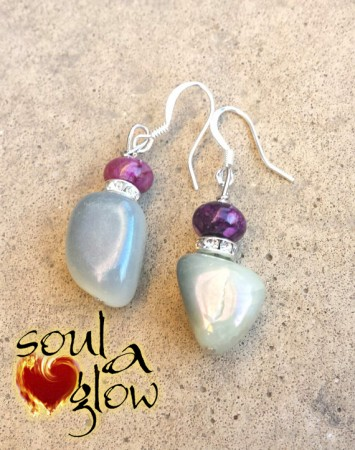 Fire Within Earrings - Serpentine Jade, Sugilite