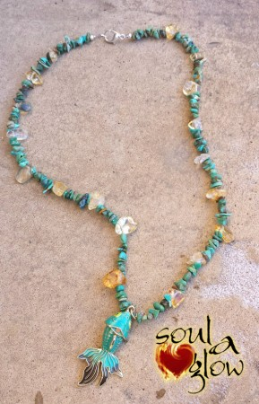 River of Abundance Necklace - Turquoise, Citrine