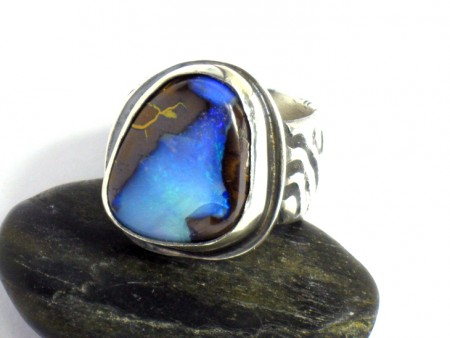Silver and Blue Queensland Opal Ring