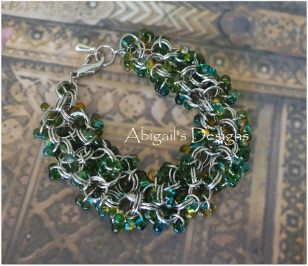 Green and Yellow Chain Maille by Abigail Robichon