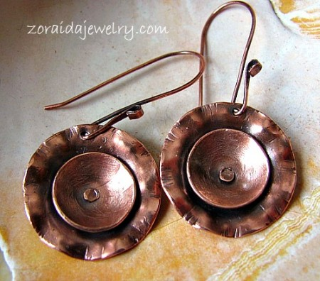 Copper blossom earrings
