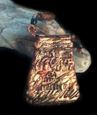 Back of Steamer Pendant- Stamped Polymer Clay - by Susan Anderson