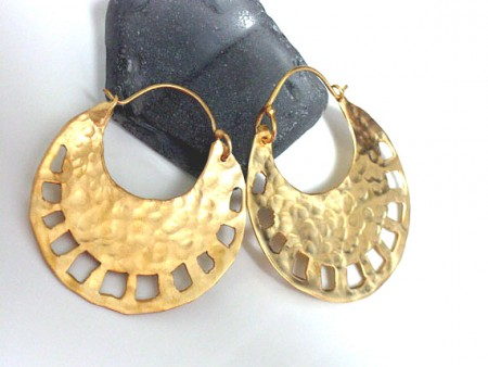 Large Gold Tribal Hoops