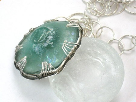 Ancient Roman Glass and Silver Necklace