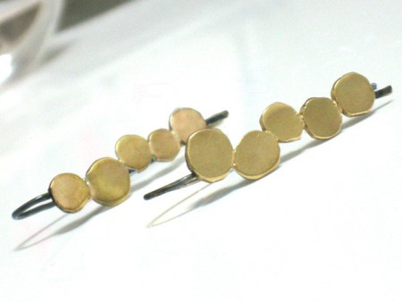 Small Gold and Black Dangle Earrings