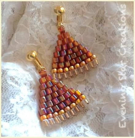 Brick Stitch Rosy Topaz Earrings by Lynn
