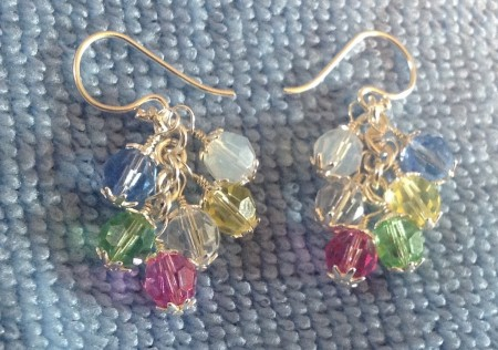 Sterling silver earrings with wire wrapped Swarovski crystals