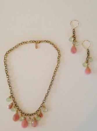 Pink opal & green Prehnite