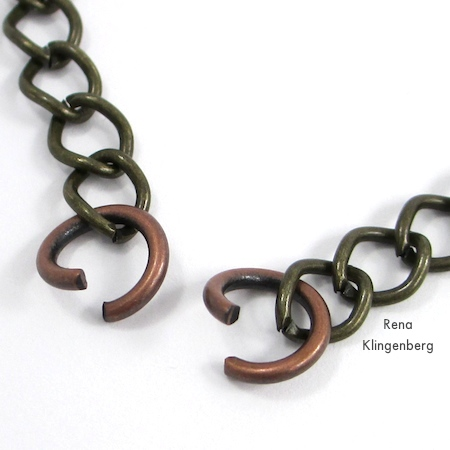 Attaching jump rings to choker chain for Interchangeable Jewelry - Connect a Choker and Bracelet to Make a Necklace - Tutorial by Rena Klingenberg