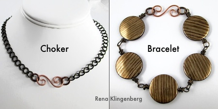 Choker and Bracelet for Interchangeable Jewelry - Connect a Choker and Bracelet to Make a Necklace - Tutorial by Rena Klingenberg