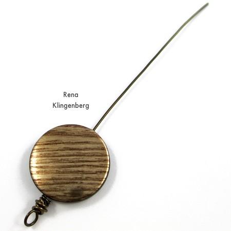 Bead with one messy wire wrap - Messy Wire-Wrap Bead Chain Bracelet - tutorial by Rena Klingenberg