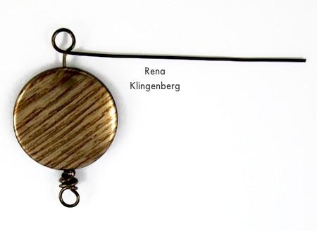 Making the second loop - Messy Wire-Wrap Bead Chain Bracelet - tutorial by Rena Klingenberg