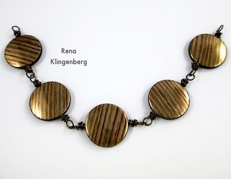 Five beads in a chain - Messy Wire-Wrap Bead Chain Bracelet - tutorial by Rena Klingenberg