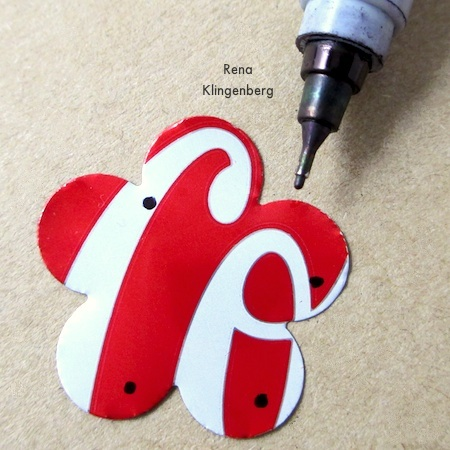 Mark where you want the holes to go - Repurposed Aluminum Can Earrings - Tutorial by Rena Klingenberg