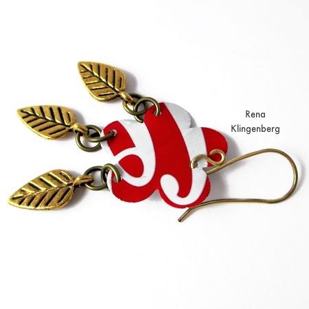 Attaching earwires to Repurposed Aluminum Can Earrings - Tutorial by Rena Klingenberg