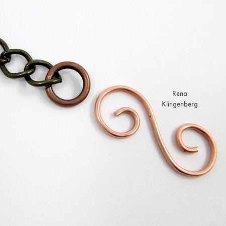 Como prender o fecho - Grampo de Gancho de Arame Espiral - tutorial de Rena Klingenberg