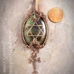 Star of David & Cross Pendant Wire-Wrapped in Copper Patina Finish with a Labrodorite Gemstone
