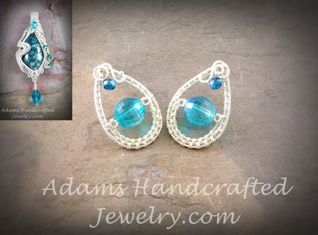 Czech crystal earrings wire-wrapped in fine silver to custom match a previous Aquamarine Chrysocolla Pendant with Czech crystals & beads wire-wrapped in fine silver.