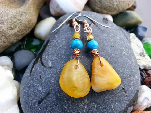 Butterscotch Beach Stone Earrings